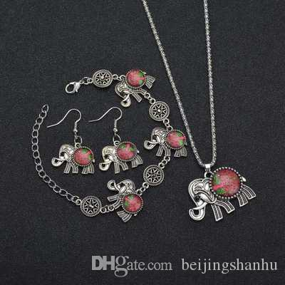 Elephant Pendant Stone Jewelry Sets Necklace Bracelet Earrings Ring For Women Vintage Antique Silver Plated Gift N1349