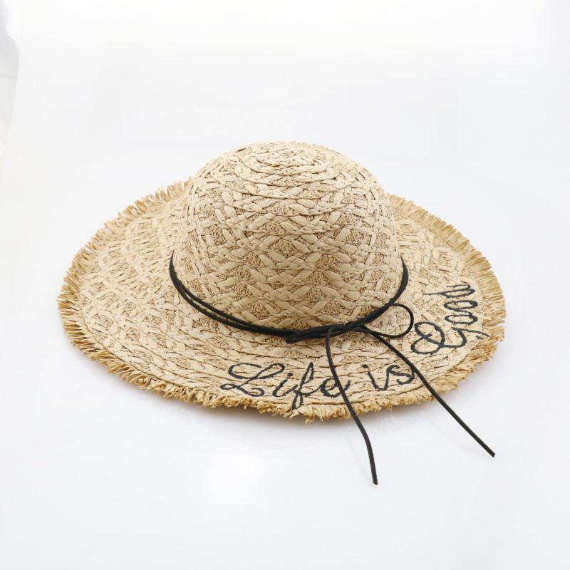 14309682b61 Summer Women Children Letters Embroidery Straw Sun Hat Wide Brim With  Ribbon Trim Beach Cap UV Protection Raffia Hats Bucket Hats Bucket Hat From  Jerry80888 ...