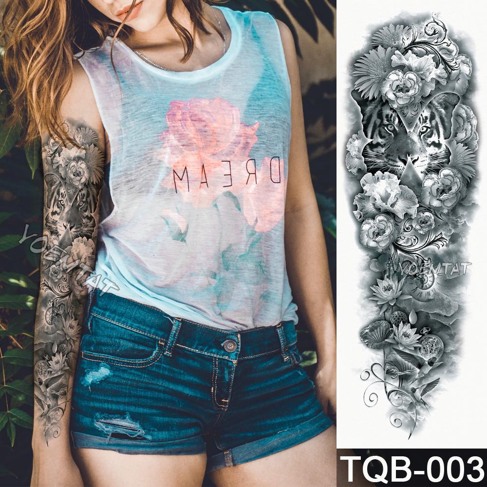 Neue 1 Stück Temporäre Tätowierung Aufkleber Gelb Grün Tod Rosen Muster Volle Blume Tattoo mit Arm Body Art Große gefälschte Tatto