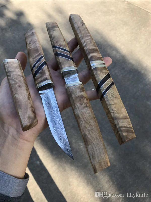 Top Quality Katana Straight Knife VG10 Damascus Steel Drop Point Blade Shadow Wood Handle Fixed Blade Knives With Wood Sheath