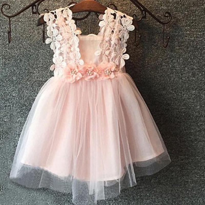 2019 Kids Girls Dresses 2019 Summer Lace Evening Dress Solid Color A Line  Knee Length Sleeveless For 24M 8T Girls Clothing 4ds267 From Cynthia04 4295f3ff77de