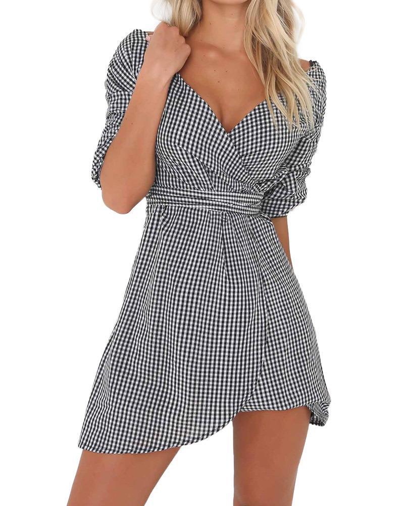 b07cffcb23e6 Women Off Shoulder Shirt Dress Striped Plaid Deep V Neck Wrap Dress Drop  Shoulder Mini Party Dresses Casual Summer Dress 2019 Pink Dress Sundress  From ...