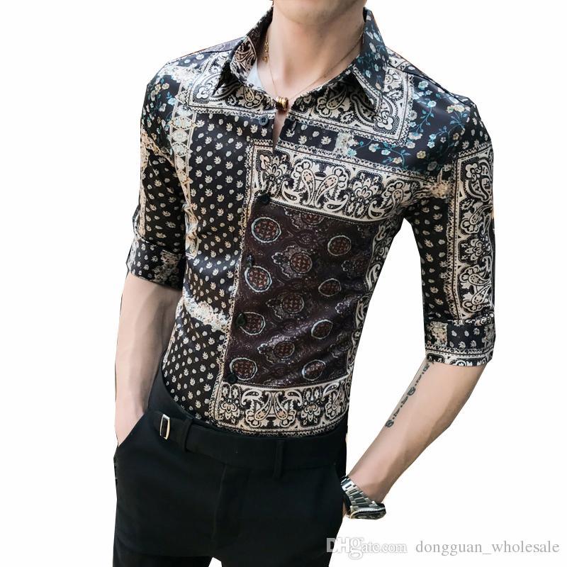 9374dc32a47f 2019 Casual Slim Fit Mens Social Shirts Turndown Collar Camisas Para Hombre  2019 Summer Fashion Print Men Shirt Half Sleeve Quality From  Dongguan_wholesale, ...