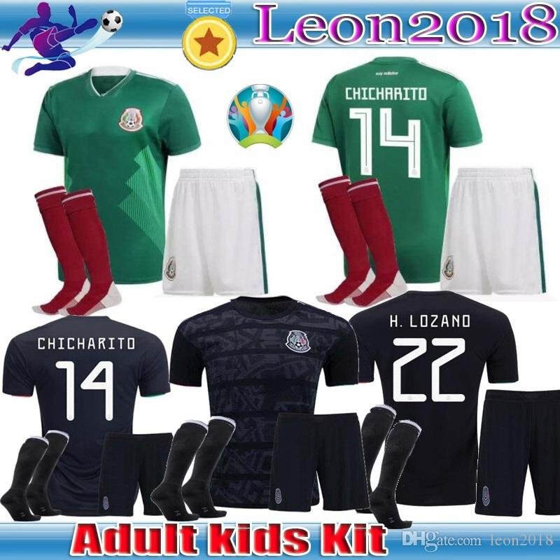 ed9bec782 Adult Kids Kits 2019 Gold Cup Mexico Soccer Jersey Home Black 19 20  CHICHARITO H. LOZANO Youth Child Football Jerseys Set Shirts Canada 2019  From Leon2018, ...