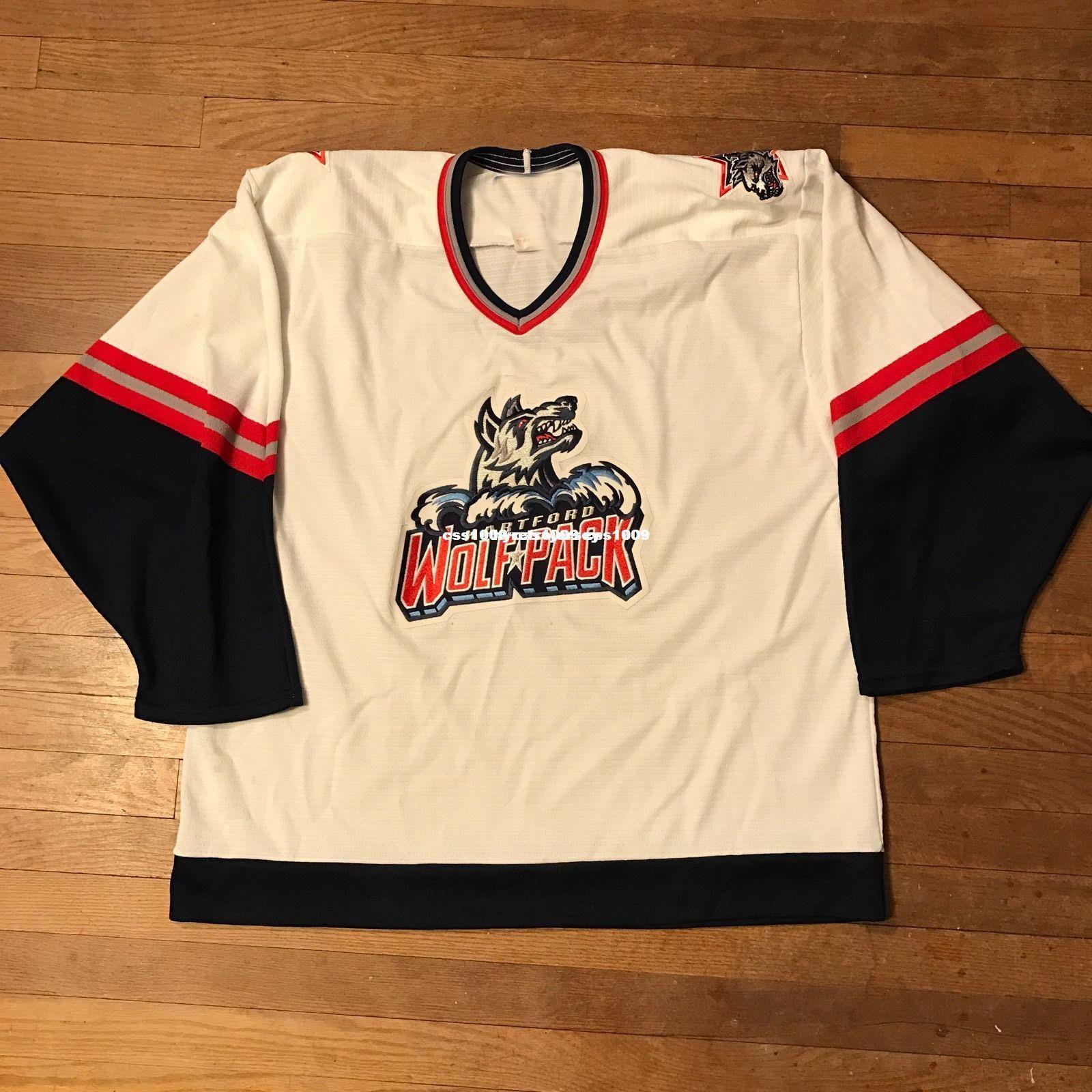 Cheap Custom Vintage Hartford Wolfpack Hockey Jersey AHL Whalers ... b837fca1f2a