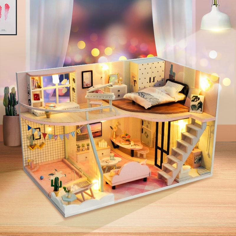 Diy Doll House Furniture Light Pink Pick Up Miniature Dollhouse Toys