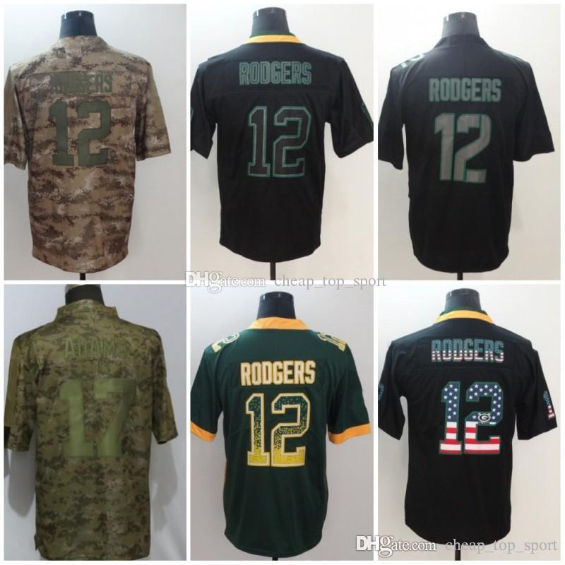 cheap for discount 0b967 2f453 Aaron 12 Rodgers Green Jerseys Packers 2018 USA Flag Fashion Impact Lights  out Black Color Rush Drift Camo Salute to Service Olive Limited