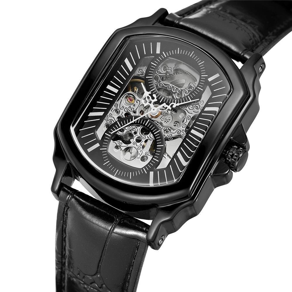 07eff7aa2696 Compre Forsining Retro Classic Designer Caja De Acero Inoxidable Negro Hombres  Relojes Marca De Lujo Mecánico Automático Reloj Reloj Hombres A  56.34 Del  ...
