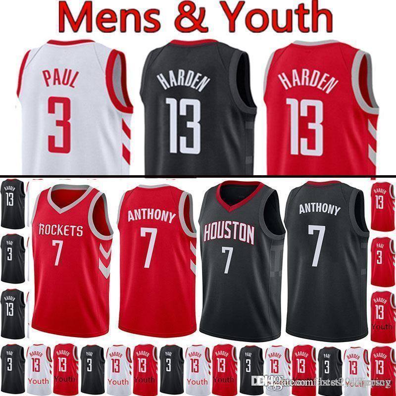 b3ac42d261e 2018 Houston 7 Carmelo Anthony Rockets Jersey 13 James Harden 3 Chris Paul  Basketball Jerseys From Best2018jersey