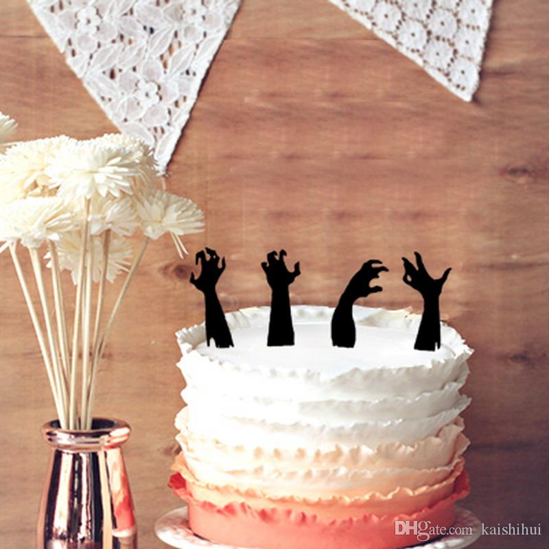2019 Halloween Cake Topper 4 Zombie Hands Silhouette Decoration From