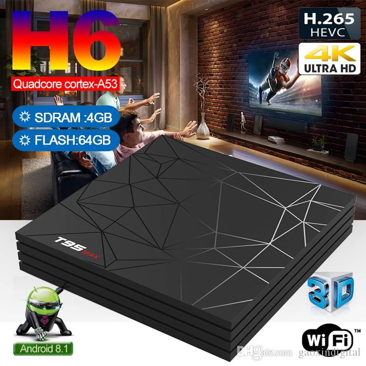 Wholesale Allwinner H6 Android Tv box T95X Max 2019 New Arrivals Android 9.0 TV Box Best 4GB 64GB TV Boxes support USB3.0 6K Ultra HD