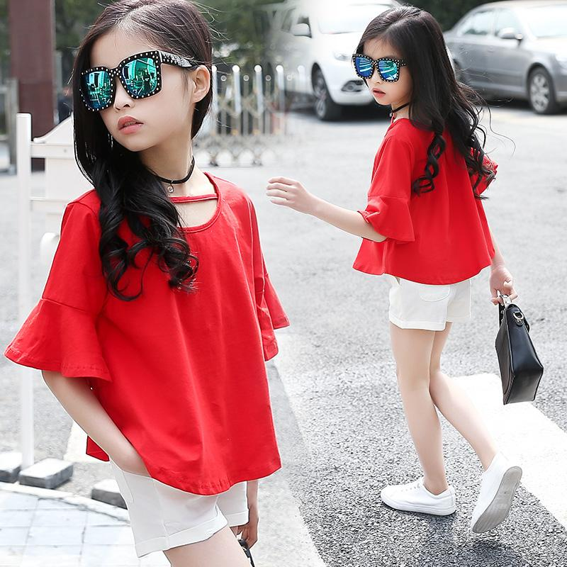 12 Girls Suit 11 Summer Fashion Clothing 7 Girls Short 9 Children's Wear 8 Hole Shorts +T-shirt TWO-Piece 6 5 4 3 Years Old