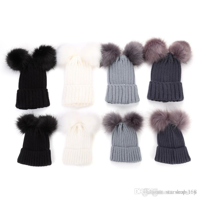 9f4f73f203 Christmas Knitting Warm Hats With Double Fur Ball Pop Winter Beanie Hats  Mom And Baby Family Matching Outfit Newborn Kids Warm Caps HH7 1879 Gifts  For ...
