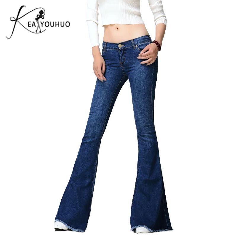 f0ffbc810 2018 dames noir taille basse flare petit ami pour les femmes denim skinny  jeans femme femme pantalon à jambe large plus la taille 5xl Q190418