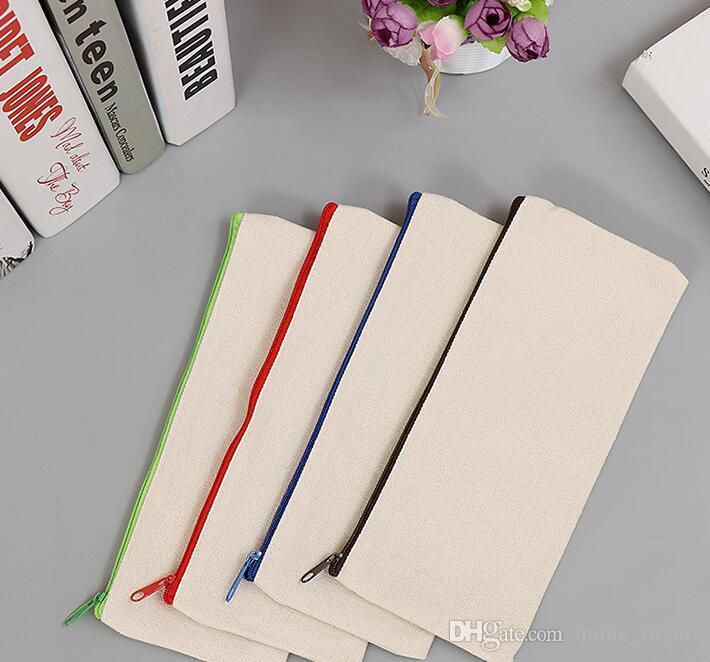 Blank Canvas Zipper Pencil Cases Pen Pouches Cotton Cosmetic Bags Makeup Bags Mobile Phone Clutch Bag Organizer GGA592 100pcs