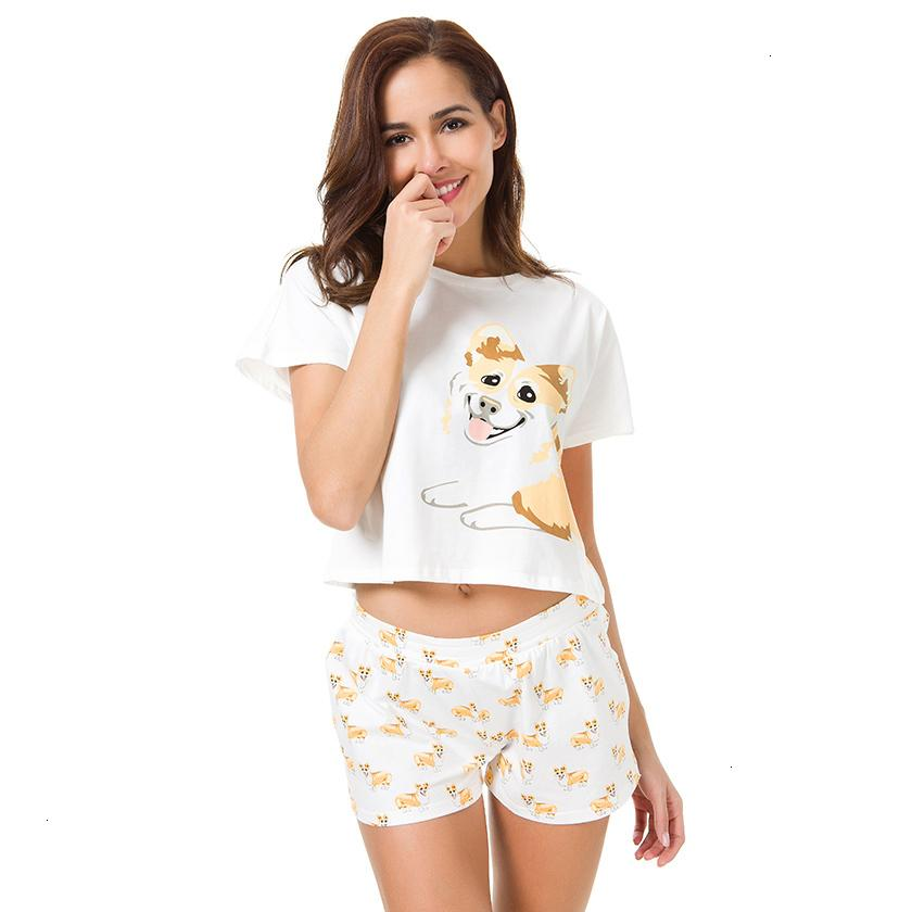Pajamas For Women Femme Lingeries Ship From The Us Corgi Pajamas Women Dog Print Shorts Short 2 Pieces Loose Elastic Waist S61004