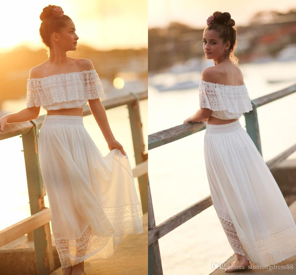 c79cc45e6c0 Modest Beach Two Pieces Bohemian Flower Girls Dresses For Wedding Off The  Shoulder Chiffon Lace Backless Cheap First Communion Dress New Baby Girl  Flower ...