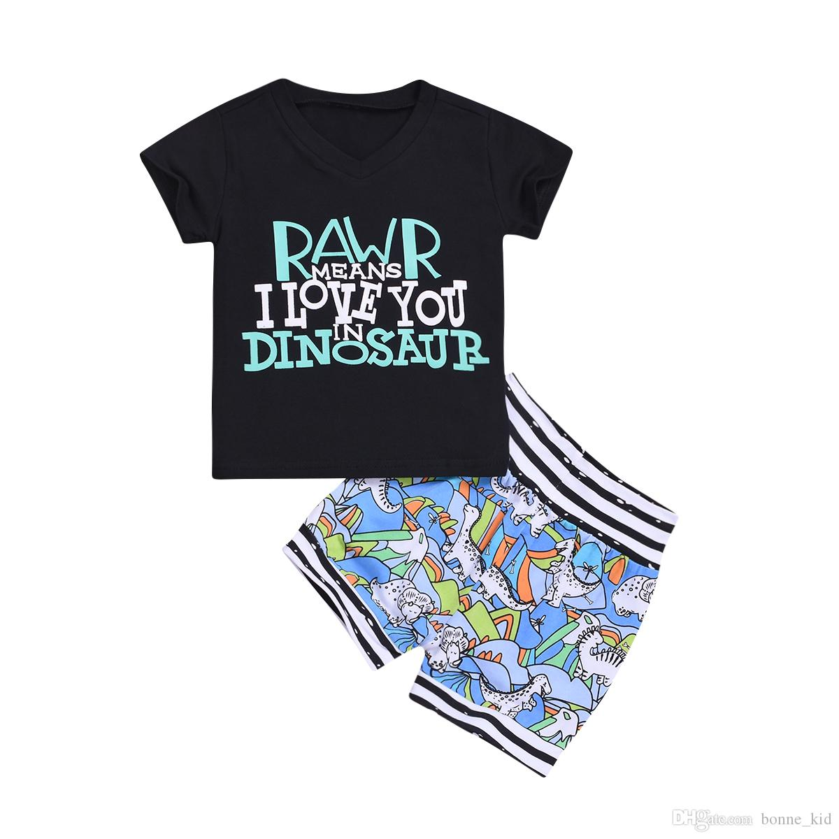 408fed2fd Baby Boys Dinosaur Letter Print T-shirt Shorts Clothes 2pcs Set Animals  Black Outfits Tracksuit Summer Casual Kid Clothing Toddler