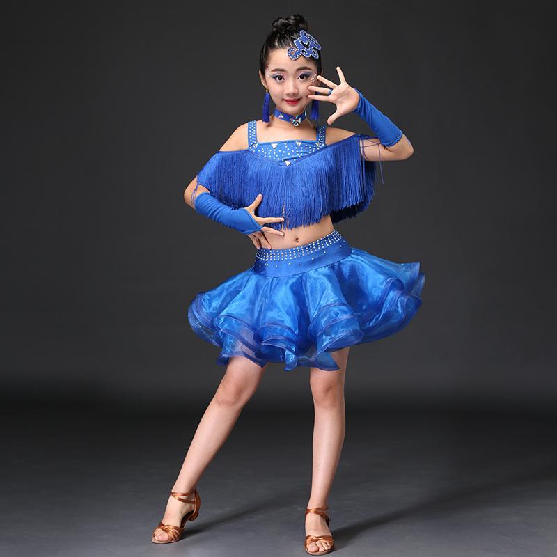 e3cbe2be1 2019 Tassel Ballroom Dancing Dresses Skirt Kids Fringe Children  Professional Latin Dance Dress For Girls Salsa Cha Cha Samba Tango From  Honry, ...