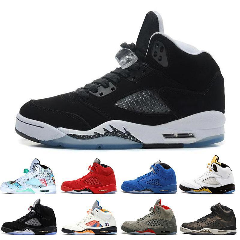 5 New 5s Wings International Flight Men Basketball Shoes 16 Prem Hc Low China Silver White Sup Men Sports Sneakers Designer Trainers