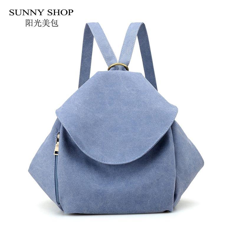328f1c3157 2019 FashionSUNNY SHOP Korean Style Canvas Backpack Female School Backpack  Simple Vintage Matte Polished Design Rucksack Women Bag 2018 Running  Backpack ...