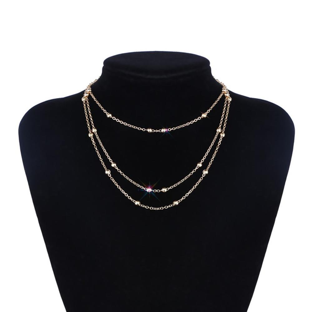Personality Simple Multilayer Beads Metal chains Necklace choker Ladies Jewelry Accessories for women Gift wholesale