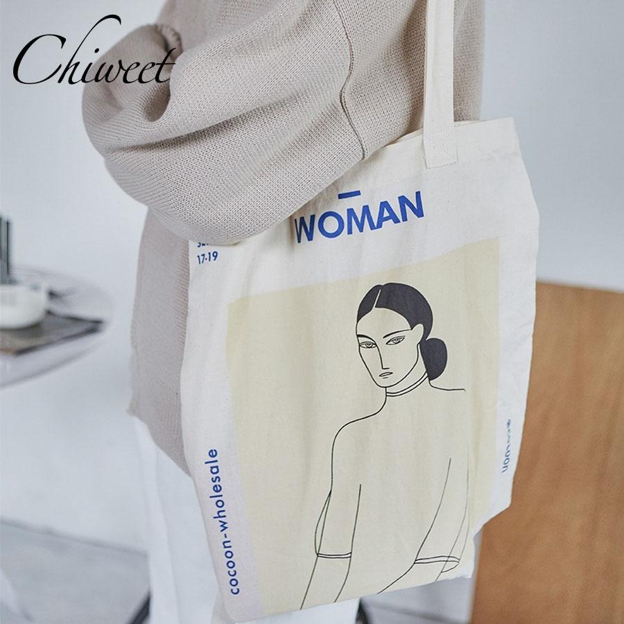 691dc2b87fff 2019 Fashion Designer Women Large Canvas Handbags Ladies Girl Figure  Painting Tote Bag Student Harajuku Abstract Shoulder Bags For Shopping Handbag  Brands ...