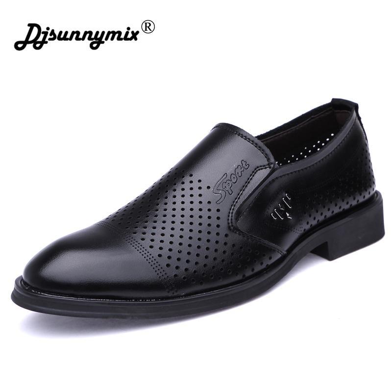 b4b4b5cfcb Compre DJSUNNYMIX Zapatos Para Hombre De Cuero De Verano Escapatoria  Transpirable Vestido Zapatos Negro Marrón Hombres De Negocios Vestir  Calzado A  35.5 ...