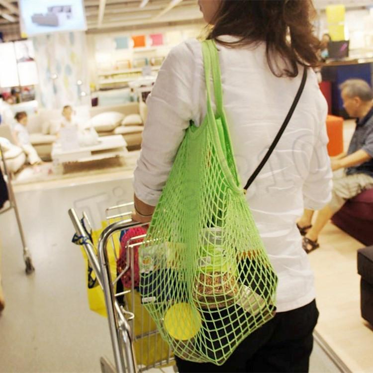 Sac à provisions réutilisable épicerie grande taille Sac fourre-tout filet à mailles de coton tissé Sacs portables Sacs shopping sac de rangement T2I5762