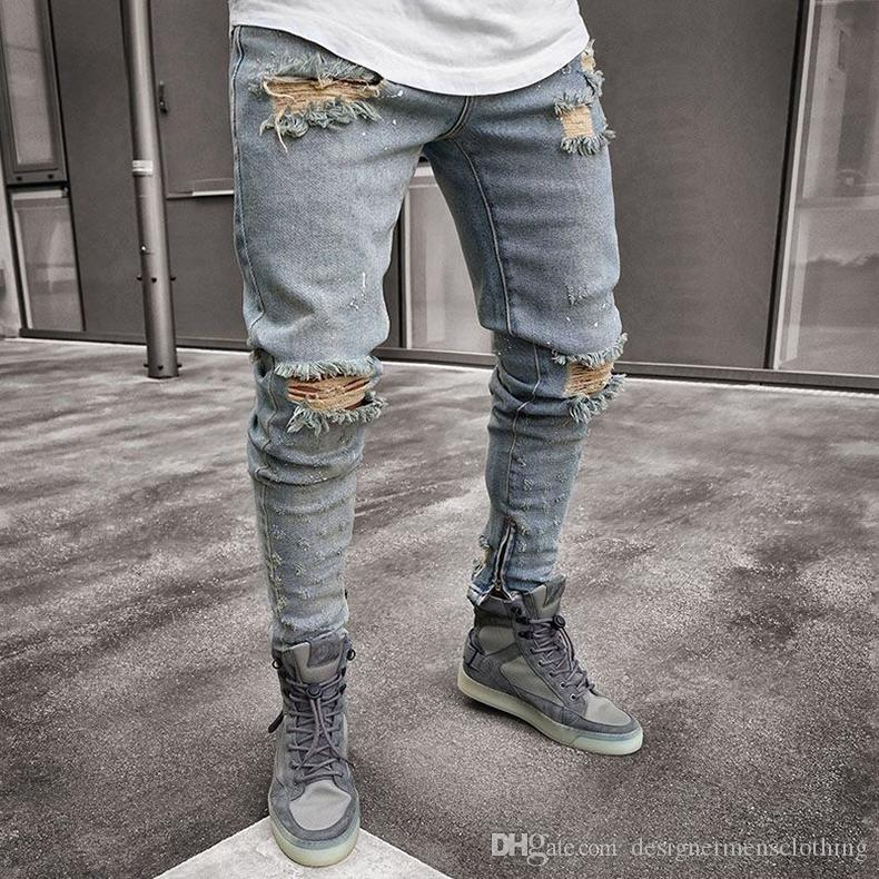db029846 2019 Denim Blue Ripped Designer Jeans Mens Clothing Draped Slim Fit Holes  Zipper Pencil Pants Hombes Pantalones From Designermensclothing, $45.22 |  DHgate.