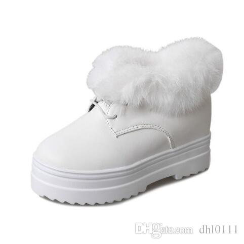 109d3ae591 2019 Winter Platform Shoes Woman Casual Leather Velvet Plush Ankle Boots  For Women Rabbit Fur Warm Snow Boots