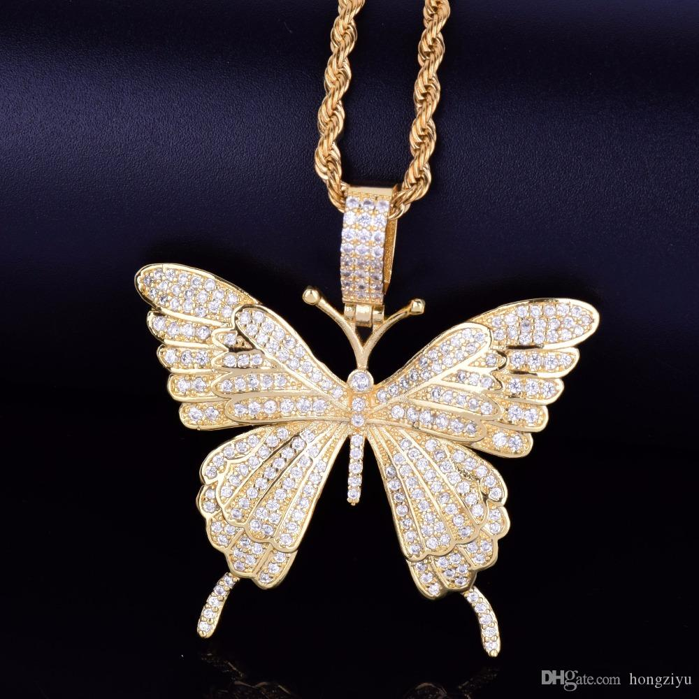 New Animal Butterfly Necklace & Pendant With Rope Chain Gold Silver Cubic Zircon Men's Women Hip hop Rock Jewelry