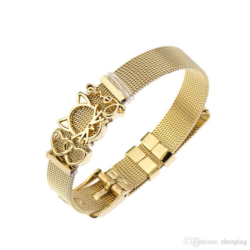 decac7ce0 Acheter Joli Chat Double Coeur Amour Charms Bricolage Ceinture Bracelet  Bracelet En Acier Inoxydable Keeper Bracelets Réglable Femmes Bijoux De  $3.88 Du ...