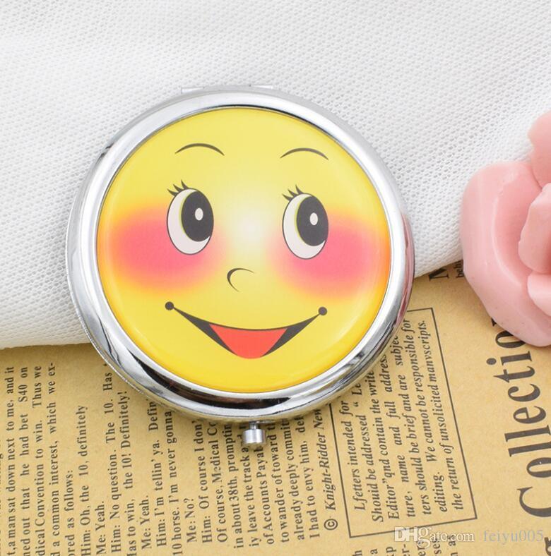 New Smile Face Makeup Mirror Drop Glue Cartoon Double-sided Folding  Portable Mirror