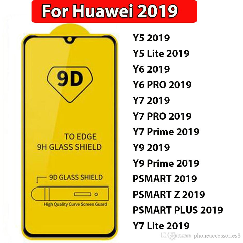 9D Full Glue Full Cover Tempered Glass For Huawei Y5 Y6 Y7 Y9 Lite Pro  Prime Psmart z plus 2019 full cover glue phone screen protector