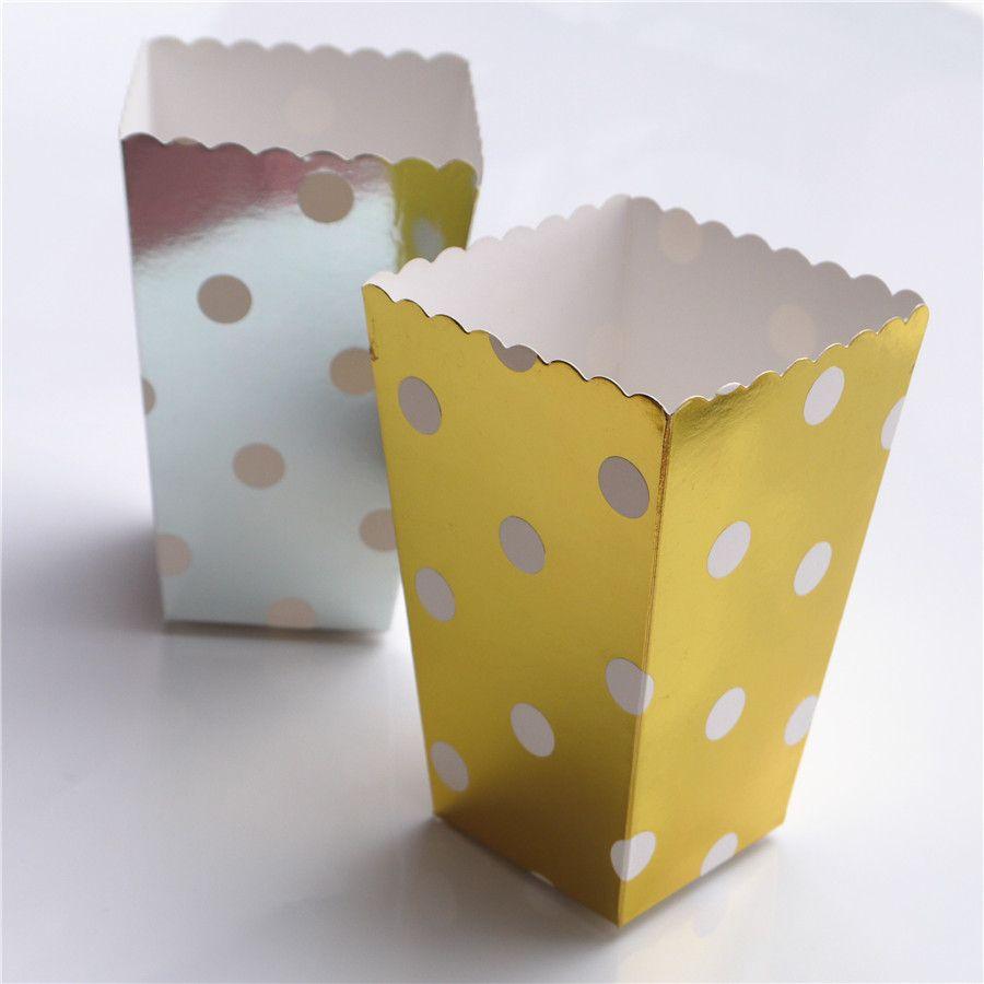 scatola di popcorn colorato chevron strisce punto oro regalo scatola favore di partito di nozze pop corn kid decorazione del partito borse bottino rosa