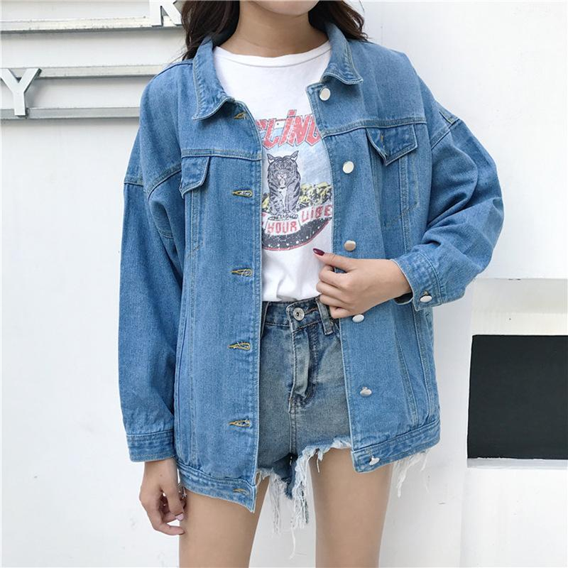 cf49288df050 Women Single Breasted Denim Jackets Girls Fashion Streetwear Jacket ...