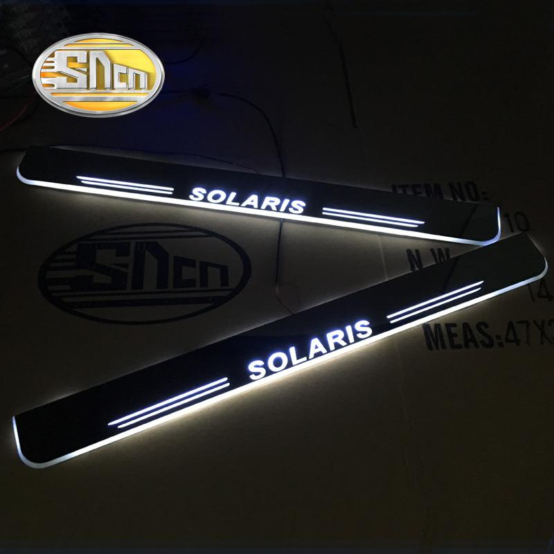 SNCN Waterproof Acrylic Auto LED Welcome Light Car Scuff Plate Pedal Thresholds Door Sill For Solaris 2011 2012 - 2017