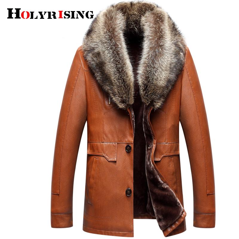1cb0ed1551d4b Holyrising Men Faux Leather Jackets Winter Thicken Coat Jaqueta De ...