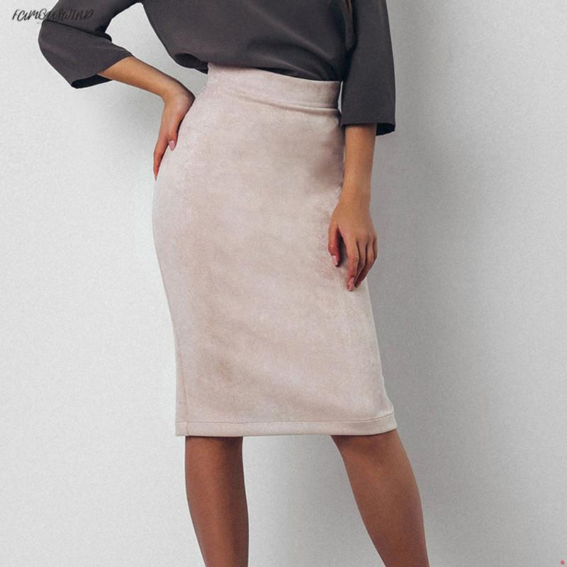 Suede Vintage Split Lady Skirt Women Winter High Waist Knee-Length Pencil Skirts Elegant Office Bodycon Skirt Jupe Femme