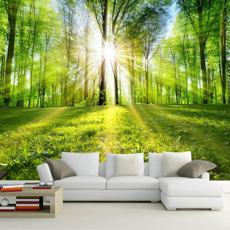 Fototapete 3d Wald Sonnenschein Natur Landschaft Wandbild Wohnzimmer Schlafzimmer Tv Sofa Hintergrund Wandverkleidung Murales De Pared 3d