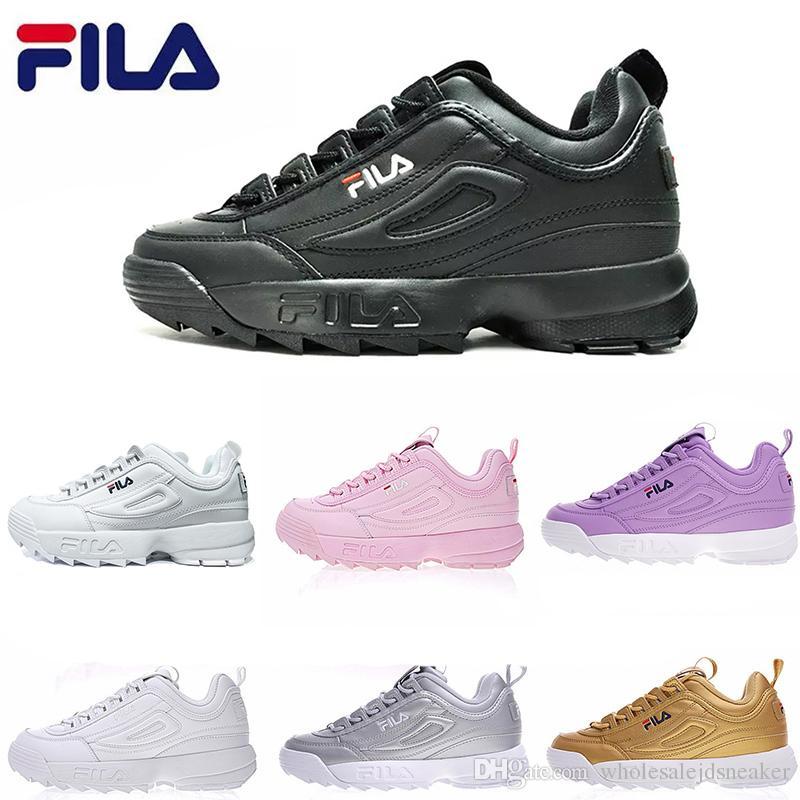 Acheter 2019 Chaussure De Course Fila II 2 Chaussure Femmes Hommes Scarpe  Blanc Noir Gris Rose Dame Mens Baskets De Sport Zapatillas Chaussure De  Course À