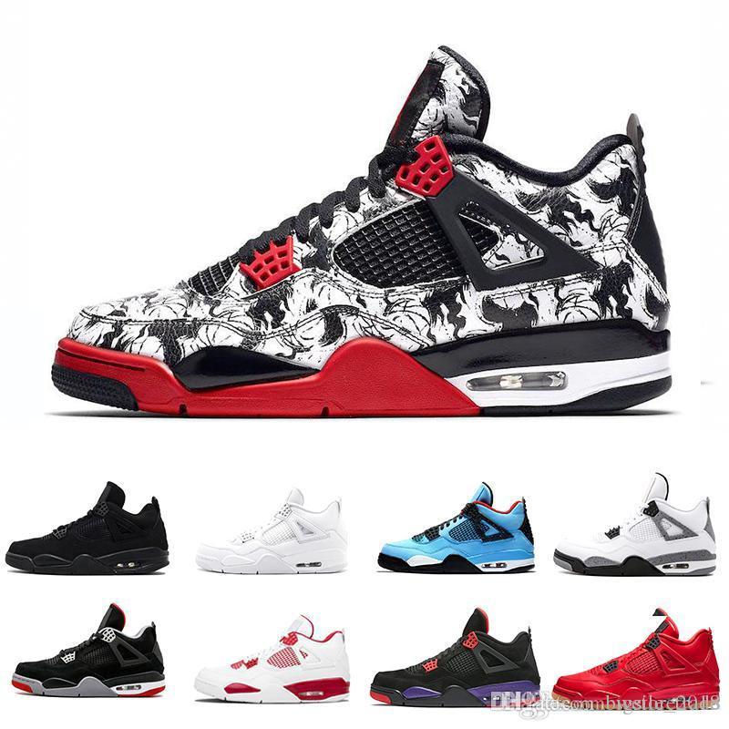 the best attitude 25159 52fa0 Compre Nike Air Jordan Retro Retros 2019 Tattoo 4 Solteros Día 4s Calzado  De Baloncesto Para Hombre Dinero Puro Realeza Cemento Blanco Raptors Gato  Negro ...