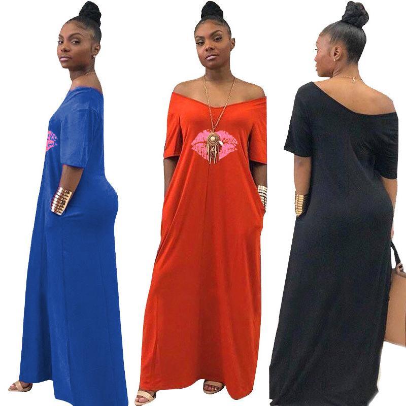 205ea939c32c Women Maxi Dress Summer V Neck Lips Print Ladies Casual Long Dresses ...