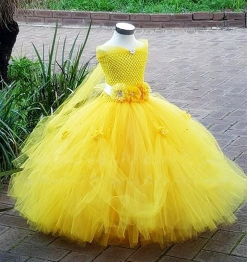 Belle Princess Tutu Dress Baby Kids Fancy Party Christmas Halloween Costumes Beauty Beast Cosplay Dress Flowers Girls Ball Gown Q190522