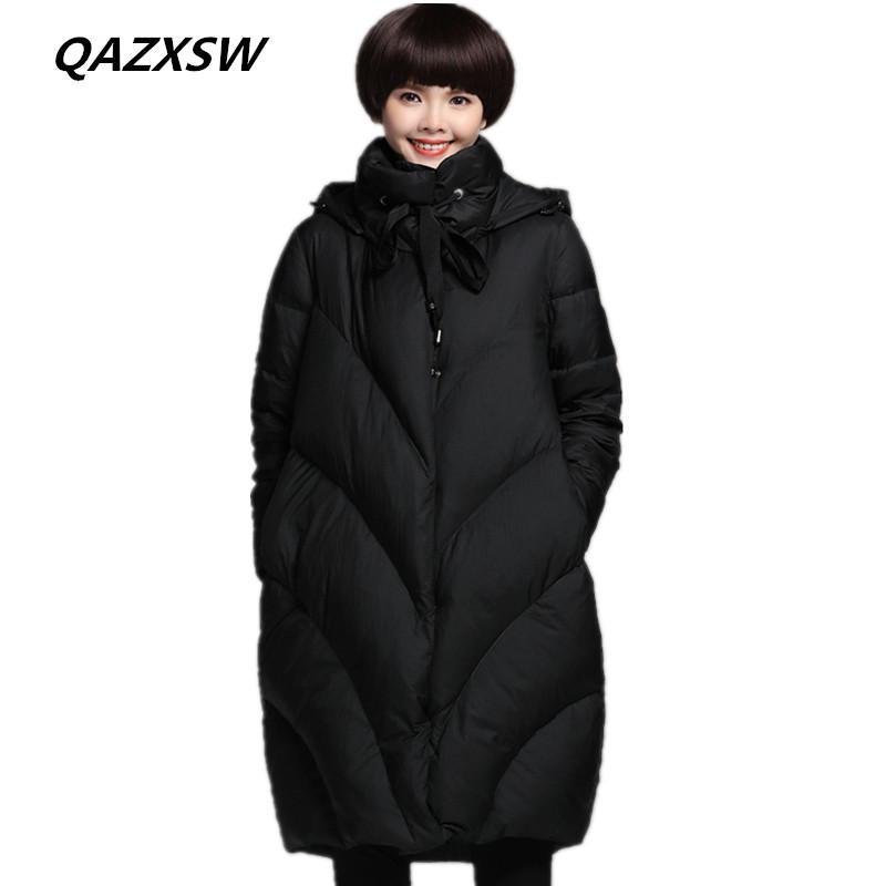 c53f04a22ff0 QAZXSW 2018 New Women s Winter Down Jacket Large Size Fashion Long ...