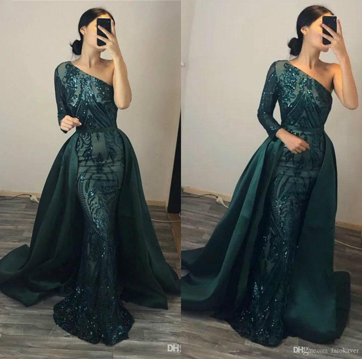 Hunter Green Sparkly Sequined Evening Dresses Long Sleeves One Shoulder Overskirt Prom Dresses Custom Made Mermaid Formal Gowns