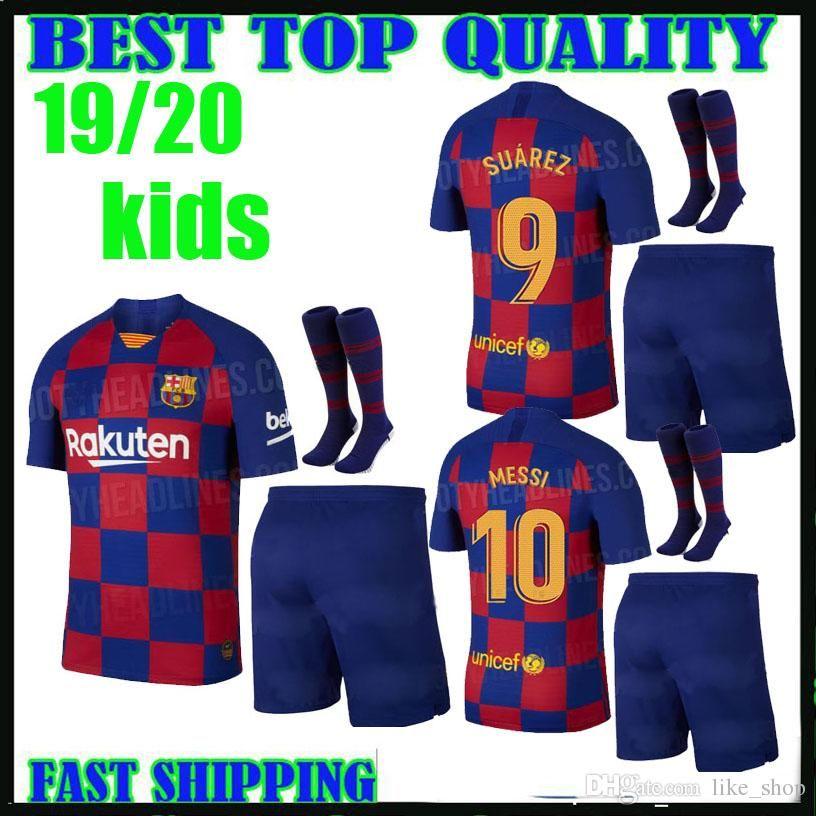 online store 4ea34 7e81e kids kit 19 20 BARCELONA SOCCER JERSEYS HOME de Jong MESSI camisetas 2019  2020 COUTINHO VIDAL SUAREZ O. DEMBELE child boys football shirts
