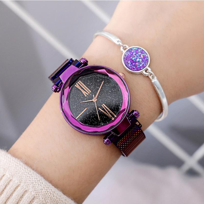93834c122c4 Compre Luxo Malha Relógio Senhoras Fivela Estrelado Diamante Geométrica  Superfície Casual Vestido De Quartzo Relógio De Pulso Das Mulheres Relógios  Rose ...