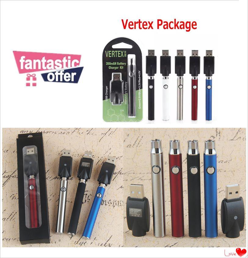 2019 Vertex 350 mAh 510 Thread VV Preheating Vape cartridge battery Preheat  Blister Pack Kit Manual Evod HGB Variable Voltage vape pen
